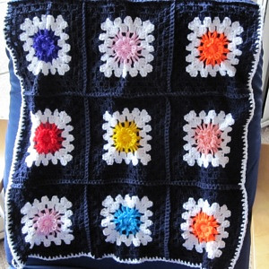 Navy squares with flowers 3
